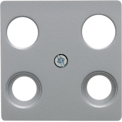 14831404 Central plate for aerial socket 4hole (Hirschmann) aluminium,  matt,  lacquered