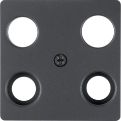14831606 Central plate for aerial socket 4hole (Hirschmann) anthracite,  matt