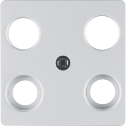 14837003 Central plate for aerial socket 4hole (Hirschmann) aluminium,  matt,  lacquered
