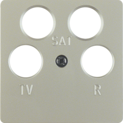 148404 Central plate for aerial socket 4hole (Ankaro) stainless steel matt,  lacquered