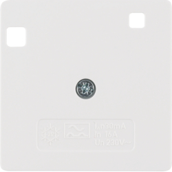 149609 50 x 50 mm centre plate for RCD protection switch System 50 x 50 mm,  polar white glossy