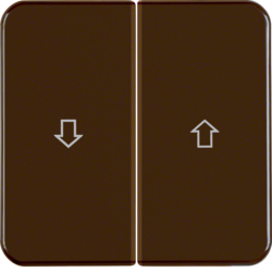 155221 Rocker 2gang with imprinted arrow symbol Splash-protected flush-mounted IP44, brown glossy