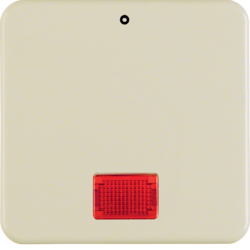 "1558 Rocker with imprint ""0"" with red lens,  Splash-protected flush-mounted IP44, white glossy"