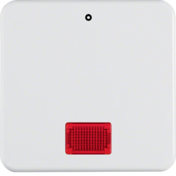 "155809 Rocker with imprint ""0"" with red lens,  Splash-protected flush-mounted IP44, polar white glossy"