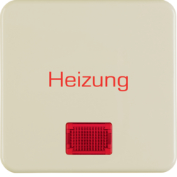 "1568 Rocker with imprint ""Heizung"" with red lens,  Splash-protected flush-mounted IP44, white glossy"