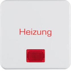 "156809 Rocker with imprint ""Heizung"" with red lens,  Splash-protected flush-mounted IP44, polar white glossy"