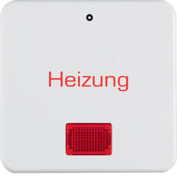 "156909 Rocker with imprint ""Heizung - 0"" red lens,  Splash-protected flush-mounted IP44, polar white glossy"