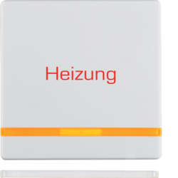 "16216069 Rocker with imprint ""Heizung "" orange lens,  polar white velvety"