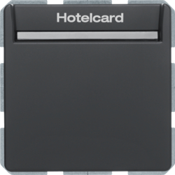 16406096 Relay switch with centre plate for hotel card Berker Q.1/Q.3/Q.7/Q.9, anthracite velvety