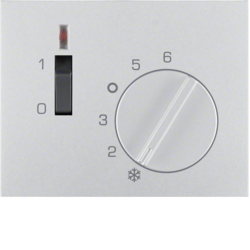 16717103 Centre plate for thermostat pivoted,  Setting knob,  Berker K.5, aluminium,  matt,  lacquered