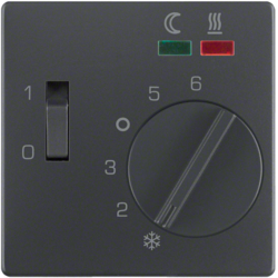 16726086 Centre plate for thermostat for underfloor heating pivoted,  with setting knob,  Berker Q.1/Q.3/Q.7/Q.9, anthracite velvety,  lacquered