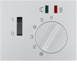 16727103 Centre plate for thermostat for underfloor heating pivoted,  Setting knob,  Berker K.5, aluminium,  matt,  lacquered