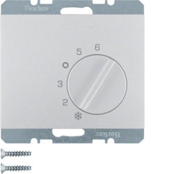 20267103 Thermostat,  change-over contact,  with centre plate Berker K.5, aluminium,  matt,  lacquered
