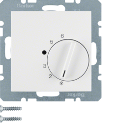 20268989 Thermostat,  change-over contact,  with centre plate polar white glossy