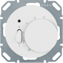 20302089 Temperature controller,  NC contact,  with centre plate with rocker switch,  polar white glossy