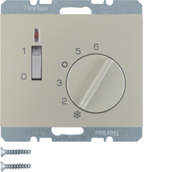 20307104 Temperature controller,  NC contact,  with centre plate with rocker switch,  Berker K.5, stainless steel matt,  lacquered