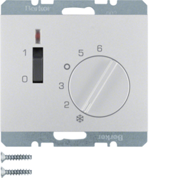20317103 Temperature controller,  NC contact,  with centre plate,  24 V AC/DC with rocker switch,  Berker K.5, aluminium,  matt,  lacquered