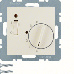 20318982 Temperature controller,  NC contact,  with centre plate,  24 V AC/DC with rocker switch,  white glossy
