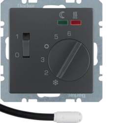 20346086 Thermostat,  NO contact,  with centre plate,  for underfloor heating with rocker switch,  external temperature sensor,  anthracite velvety,  lacquered