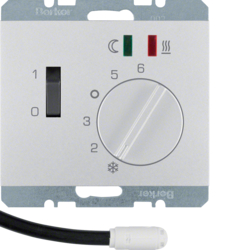 20347103 Thermostat,  NO contact,  with centre plate,  for underfloor heating with rocker switch,  external temperature sensor,  Berker K.5, aluminium,  matt,  lacquered