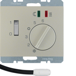 20347104 Thermostat,  NO contact,  with centre plate,  for underfloor heating with rocker switch,  external temperature sensor,  Berker K.5, stainless steel matt,  lacquered