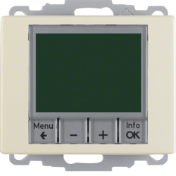 20440002 Thermostat,  NO contact,  with centre plate Time-controlled,  Berker Arsys,  white glossy