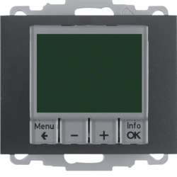 20447106 Thermostat,  NO contact,  with centre plate Time-controlled,  Berker K.1, anthracite,  matt