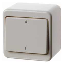 "300340 On/off switch 3pole with imprint ""0"" and ""I"", surface-mounted Surface-mounted,  white glossy"