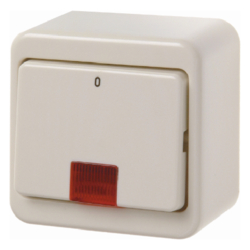 "301240 Control on/off switch 2pole with imprint ""0"" surface-mounted with red lens,  Surface-mounted,  white glossy"