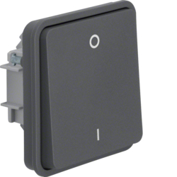 "30423515 On/off switch insert 2pole with rocker and imprint ""0"" und ""1"" surface-mounted/flush-mounted Berker W.1, grey matt"