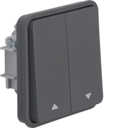 30653515 Blind series switch insert 1pole with rocker 2gang with imprinted symbol Arrows surface-mounted/flush-mounted Berker W.1, grey matt