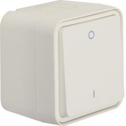 "30723502 On/off switch 2pole with imprint ""0"" and ""I"" surface-mounted Berker W.1, polar white matt"