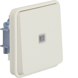 30863522 Illuminated change-over switch insert with rocker surface-mounted/flush-mounted with lens,  Berker W.1, polar white matt