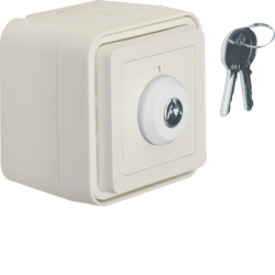 32713502 Key change-over switch with imprint surface-mounted,  isolated input terminals Lock - identical lockings,  Key can be removed in 2 positions,  Berker W.1, polar white matt