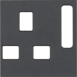 3313071606 Centre plate for socket outlets,  British Standard,  can be switched off anthracite matt
