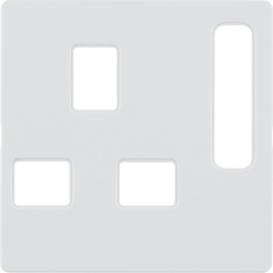 3313076089 Centre plate for socket outlets,  British Standard,  can be switched off polar white velvety