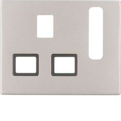 3313077014 Centre plate for socket outlets,  British Standard,  can be switched off Berker K.5, Stainless steel,  metal matt finish