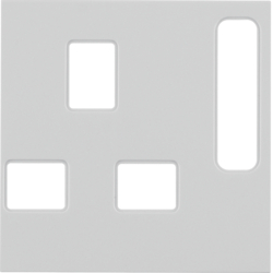 3313078982 Centre plate for socket outlets,  British Standard,  can be switched off white glossy