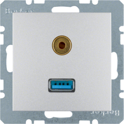 3315391404 USB/3.5 mm audio socket outlet aluminium,  matt,  lacquered