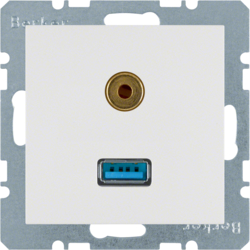 3315391909 USB/3.5 mm audio socket outlet polar white matt