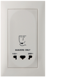 3344758909 Socket outlet without earthing contact for razors with screw terminals,  Berker S.1, polar white matt