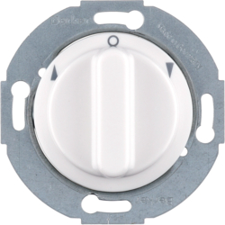 3811 Rotary switch for blinds 1pole with centre plate Rotary knobs,  Serie 1930/Glas,  polar white glossy