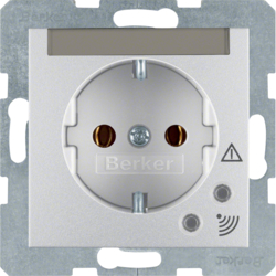 41081404 SCHUKO socket outlet with overvoltage protection with labelling field,  Screw terminals,  aluminium,  matt,  lacquered