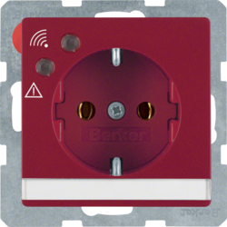 41086062 SCHUKO socket outlet with overvoltage protection with labelling field,  Screw terminals,  red velvety