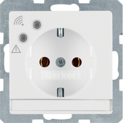 41086089 SCHUKO socket outlet with overvoltage protection with labelling field,  Screw terminals,  polar white velvety