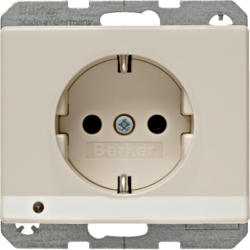 41090002 SCHUKO socket outlet with LED orientation light enhanced contact protection,  Screw-in lift terminals,  Berker Arsys,  white glossy