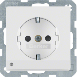 41096089 SCHUKO socket outlet with LED orientation light enhanced contact protection,  Screw-in lift terminals,  polar white velvety