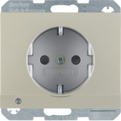 41097004 SCHUKO socket outlet with LED orientation light enhanced contact protection,  Screw-in lift terminals,  Berker K.5, stainless steel matt,  lacquered