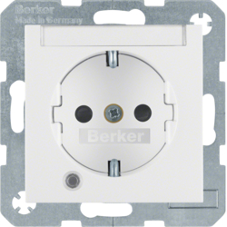 41101909 SCHUKO socket outlet with control LED with labelling field,  enhanced contact protection,  with screw-in lift terminals,  polar white matt
