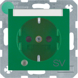 "41101913 SCHUKO socket outlet with control LED and ""SV"" imprint with labelling field,  enhanced contact protection,  Screw-in lift terminals,  green matt"